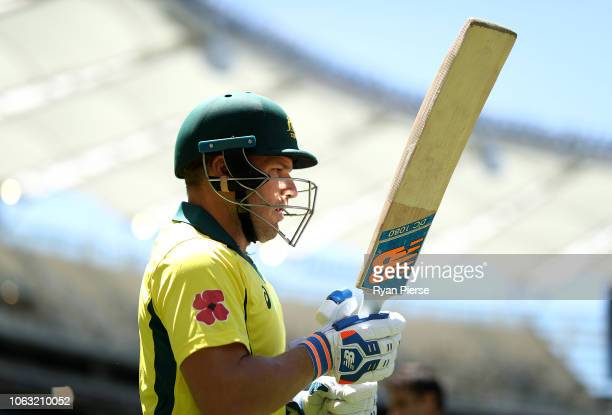 Aaron Finch of Australia prepares to bat during game one of the Gillette One Day International series between Australia and South Africa at Optus...