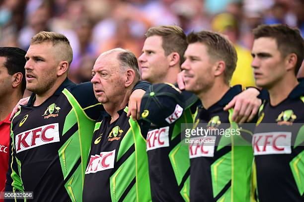 Aaron Finch of Australia sings the national anthem prior to game one of the Twenty20 International match between Australia and India at Adelaide Oval...