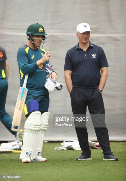 Aaron Finch of Australia speaks to former Australian Captain Steve Waugh during an Australian nets session at Adelaide Oval on December 04 2018 in...
