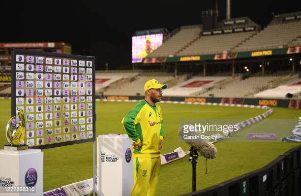 Aaron Finch of Australia speaks to Sky Sports after the 3rd Royal London One Day International Series match between England and Australia at Emirates...