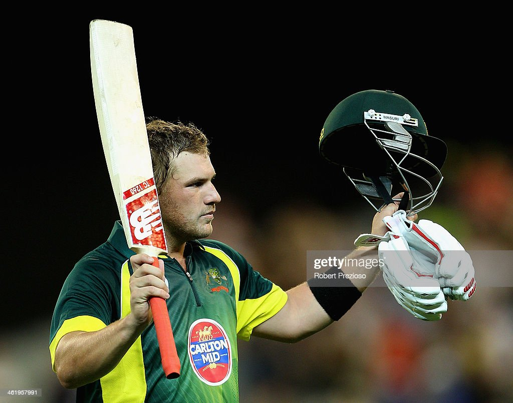 Aaron Finch of Australia thanks fans after being dismissed by Ben Stokes of England during game one of the one day international series between Australia and England at Melbourne Cricket Ground on January 12, 2014 in Melbourne, Australia.