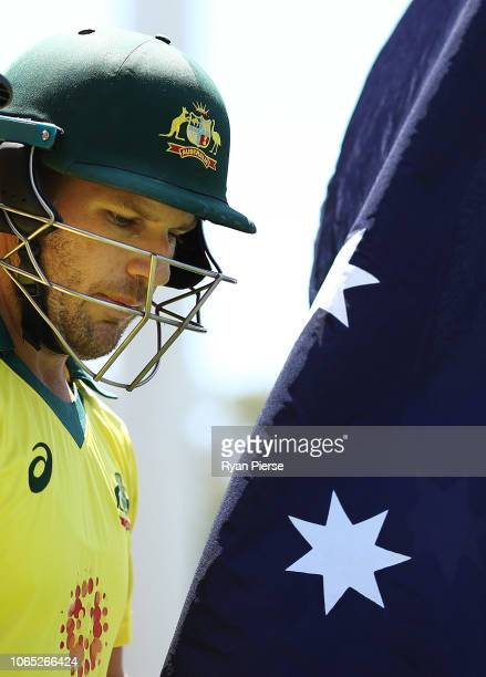 Aaron Finch of Australia walks out to bat during game two of the Gillette One Day International series between Australia and South Africa at Adelaide...