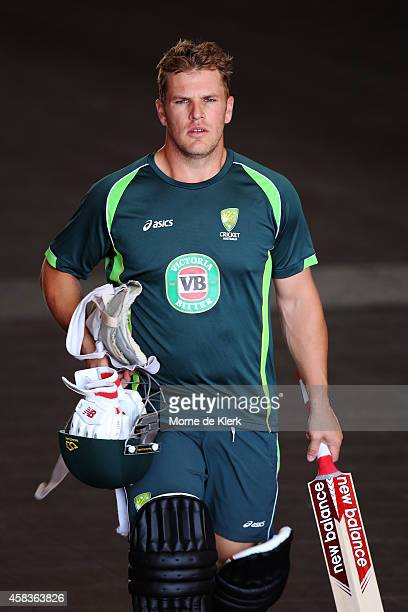 Aaron Finch of Australia walks to the nets to bat during an Australian T20 cricket training session at Adelaide Oval on November 4 2014 in Adelaide...