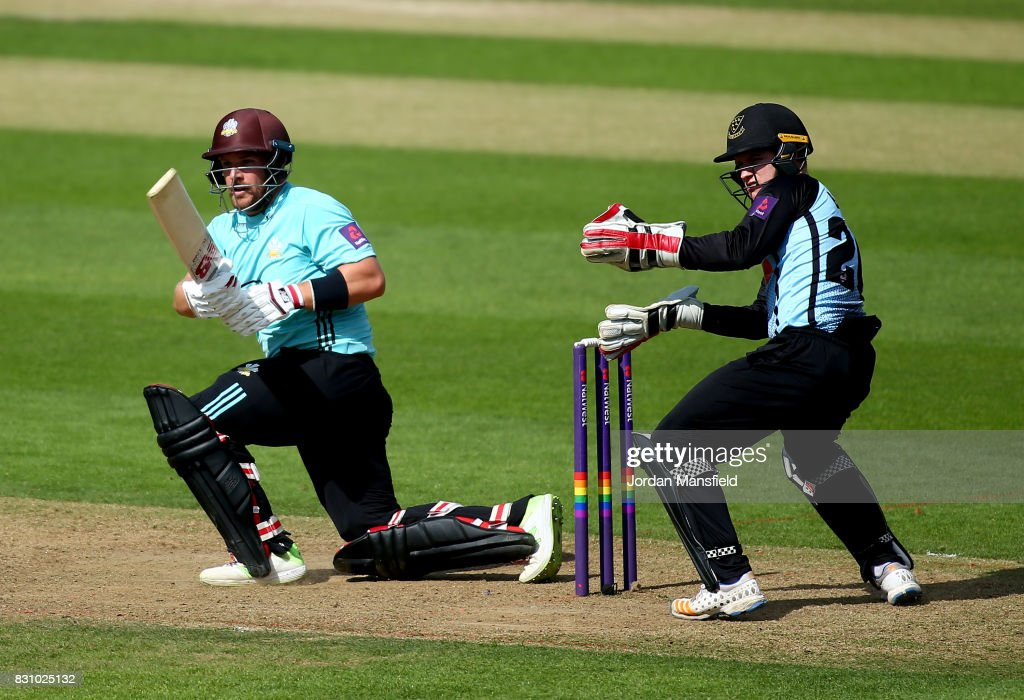 Aaron Finch of Surrey bats during the NatWest T20 Blast match between Surrey and Sussex Shark at The Kia Oval on August 13, 2017 in London, England.