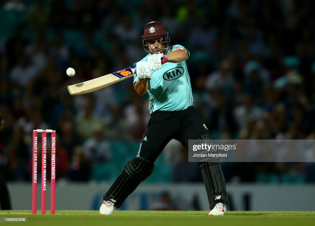 Aaron Finch of Surrey bats during the Vitality Blast match between Surrey and Somerset at The Kia Oval on July 27, 2018 in London, England.