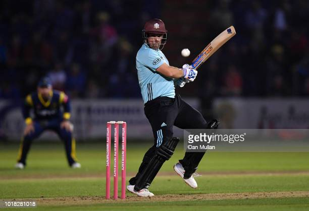 Aaron Finch of Surrey bats during the Vitality Blast match between Glamorgan and Surrey at Sophia Gardens on August 17, 2018 in Cardiff, Wales.