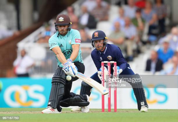 Aaron Finch of Surrey bats during the Vitality Blast match between Surrey and Essex Eagles at The Kia Oval on July 12 2018 in London England