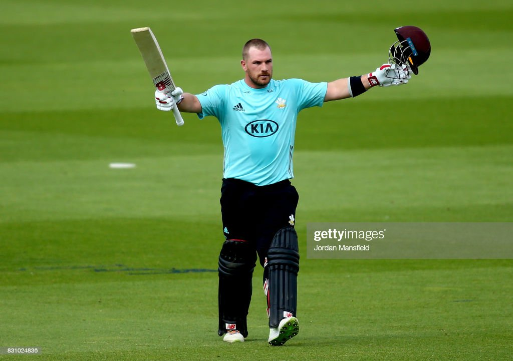 Aaron Finch of Surrey celebrates his century during the NatWest T20 Blast match between Surrey and Sussex Shark at The Kia Oval on August 13, 2017 in London, England.