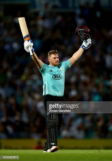 Aaron Finch of Surrey celebrates his century during the Vitality Blast match between Surrey and Middlesex at The Kia Oval on August 3 2018 in London...