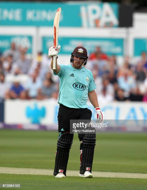 Aaron Finch of Surrey celebrates his half century during the Natwest T20 Blast match between Essex and Surrey at Cloudfm County Ground on July 7 2017...