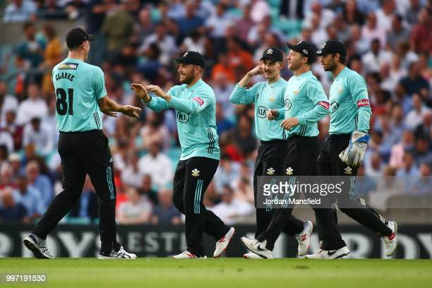 Aaron Finch of Surrey celebrates with his teammates after catching out Adam Wheater of Essex during the Vitality Blast match between Surrey and Essex...