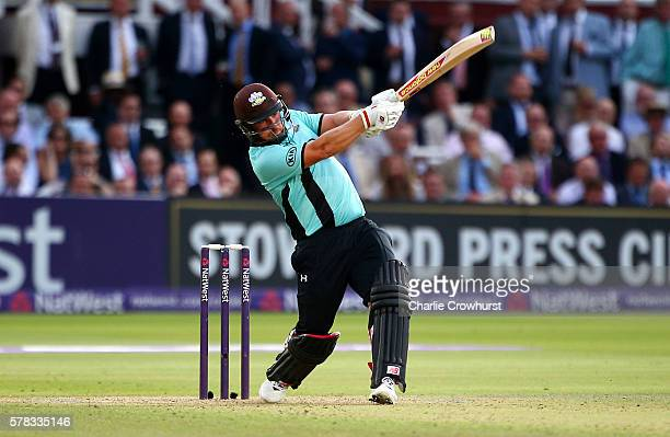 Aaron Finch of Surrey hits out during the NatWest T20 Blast match between Middlesex and Surrey at Lord's Cricket Ground on July 21 2016 in London...