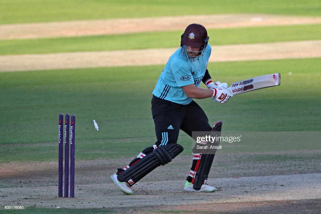 Aaron Finch of Surrey is bowled during the NatWest T20 Blast South Group match between Kent Spitfires and Surrey at The Spitfire Ground on August 18, 2017 in Canterbury, England. (Photo by Sarah Ansell/Getty Images).