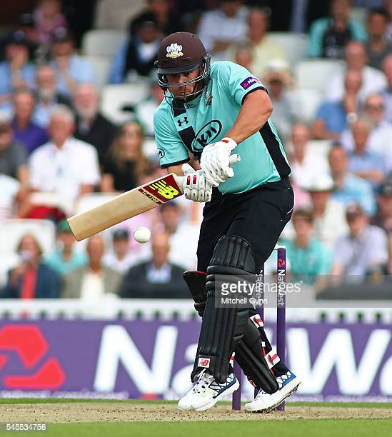 Aaron Finch of Surrey plays a shot during the NatWest T20 Blast match between Surrey and Somerset at the Kia Oval on July 8 2016 in London United...