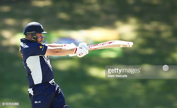Aaron Finch of the Bushrangers bats during the Matador BBQs One Day Cup match between Victoria and Queensland at Drummoyne Oval on October 18 2016 in...