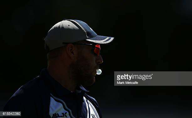 Aaron Finch of the Bushrangers blows a chewing gum bubble during the Matador BBQs One Day Cup match between Victoria and Queensland at Drummoyne Oval...