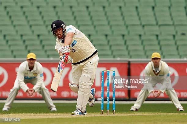 Aaron Finch of the Bushrangers plays a shot during day two of the Sheffield Shield match between the Victorian Bushrangers and the Western Australia...