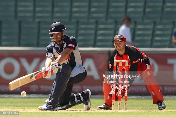 Aaron Finch of the Bushrangers plays a shot during the Ryobi One Day Cup match between the Victorian Bushrangers and the South Australian Redbacks at...