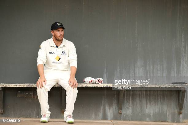 Aaron Finch of the Bushrangers waits to take the field during the Sheffield Shield match between Victoria and Western Australia at Traeger Park on...