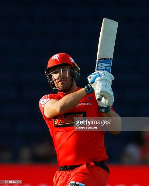 Aaron Finch of the Renegades bats during the Big Bash League match between the Melbourne Renegades and the Sydney Thunder at GMHBA Stadium on...