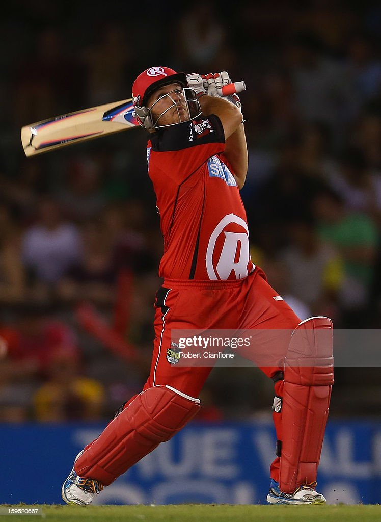 Aaron Finch of the Renegades bats during the Big Bash League Semi-Final match between the Melbourne Renegades and the Brisbane Heat at Etihad Stadium on January 15, 2013 in Melbourne, Australia.