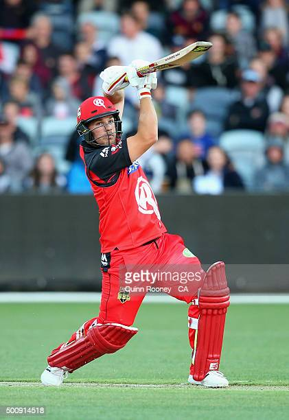 Aaron Finch of the Renegades bats during the Big Bash League exhibition match between the Melbourne Stars and the Melbourne Renegades at Simonds...