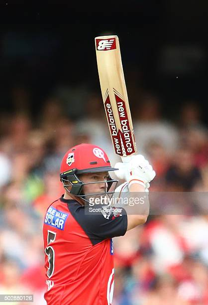 Aaron Finch of the Renegades bats during the Big Bash League match between the Melbourne Renegades and the Perth Scorchers at Etihad Stadium on...