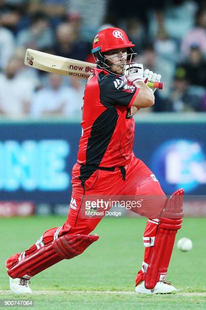 Aaron Finch of the Renegades bats during the Big Bash League match between the Melbourne Renegades and the Sydney Sixers on January 3 2018 in Geelong...