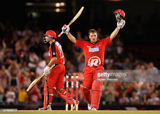 Aaron Finch of the Renegades celebrates his century during the Big Bash League match between the Melbourne Renegades and the Melbourne Stars at...