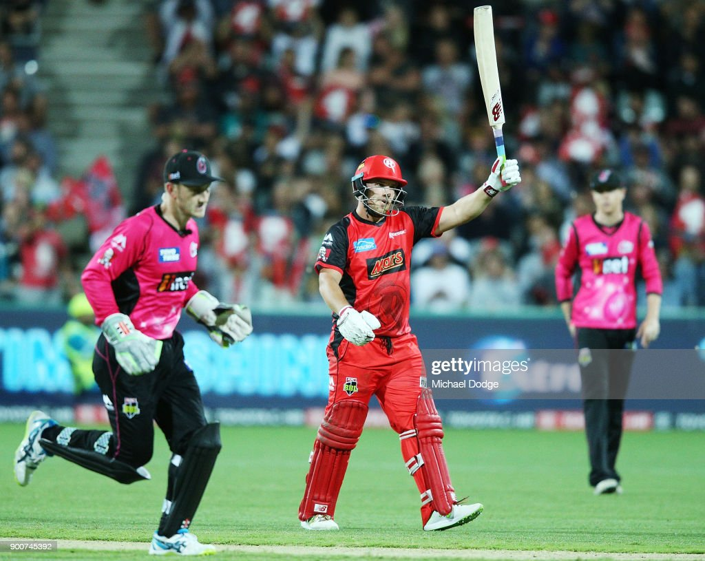 Aaron Finch of the Renegades celebrates making his half century during the Big Bash League match between the Melbourne Renegades and the Sydney Sixers on January 3, 2018 in Geelong, Australia.