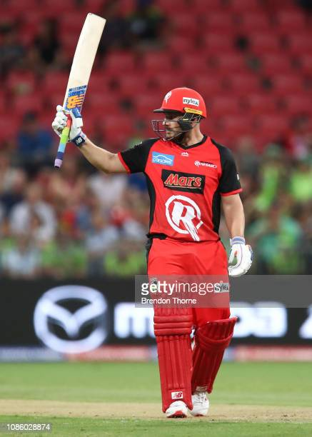 Aaron Finch of the Renegades celebrates scoring his half century during the Big Bash League match between the Sydney Thunder and the Melbourne...