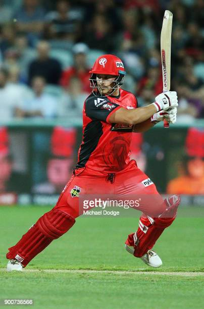 Aaron Finch of the Renegades hits a six during the Big Bash League match between the Melbourne Renegades and the Sydney Sixers on January 3 2018 in...