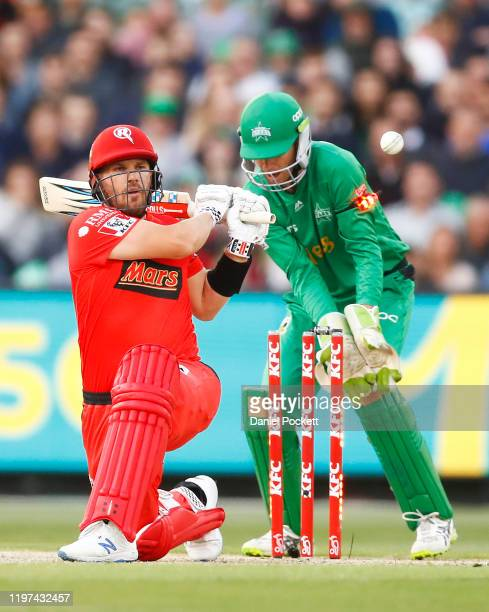 Aaron Finch of the Renegades is clean bowled by Adam Zampa of the Stars during the Big Bash League match between the Melbourne Stars and the...
