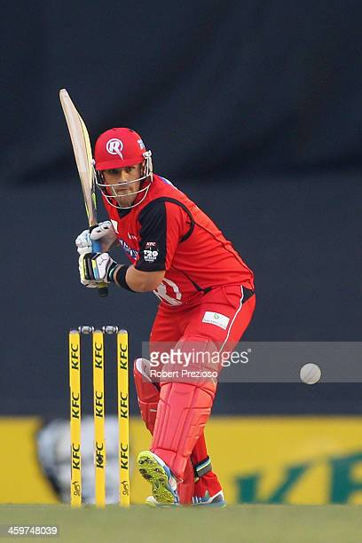Aaron Finch of the Renegades plays a shot during the Big Bash League match between the Melbourne Renegades and Brisbane Heat at Etihad Stadium on...