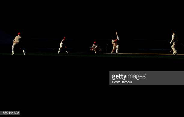 Aaron Finch of Victoria bats during day two of the Sheffield Shield match between Victoria and South Australia at the Melbourne Cricket Ground on...