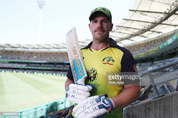Aaron Finch poses during an International Twenty20 series media opportunity at The Gabba on November 20 2018 in Brisbane Australia