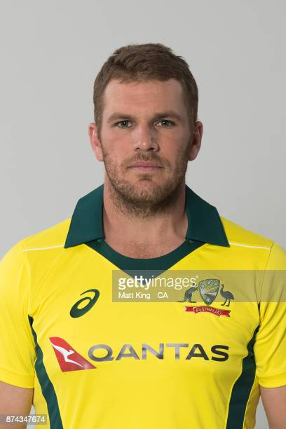 Aaron Finch poses during the Australia One Day International Team Headshots Session at Intercontinental Double Bay on October 15 2017 in Sydney...