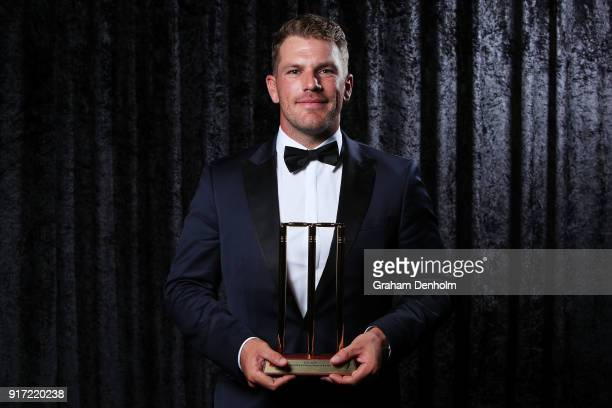 Aaron Finch poses with the award for T20 Player of the Year during the 2018 Allan Border Medal at Crown Palladium on February 12 2018 in Melbourne...