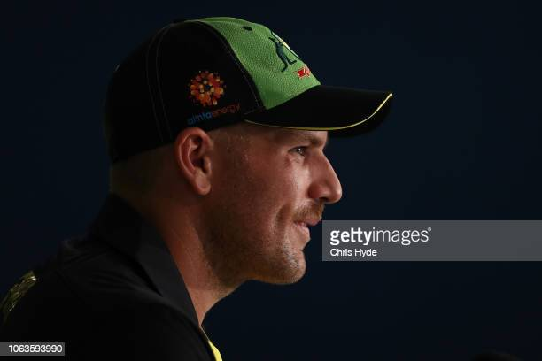 Aaron Finch speaks to media during an International Twenty20 series media opportunity at The Gabba on November 20 2018 in Brisbane Australia