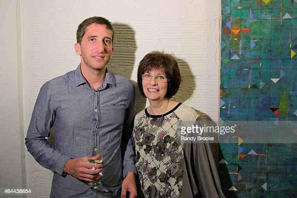 Aaron Fisher with his mom Barbara Fisher attend FilmRise Celebrates new office in Industry City in Brooklyn at FilmRise on February 25 2015 in...