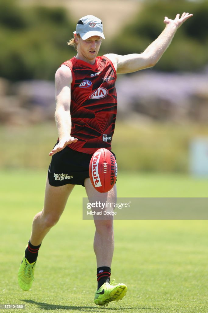 Aaron Francis of Essendon kicks the ball during an Essendon Bombers AFL training session at the Essendon Football Club on November 13, 2017 in Melbourne, Australia.