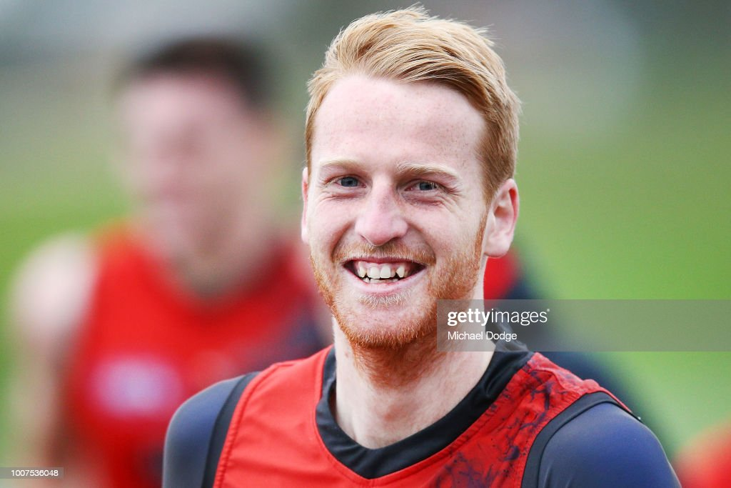 Aaron Francis of Essendon reacts during an Essendon Bombers AFL training session at The Hangar on July 30, 2018 in Melbourne, Australia.