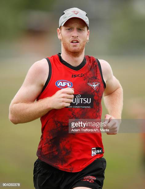 Aaron Francis of the Bombers runs during the Essendon Bombers training session at The Hangar on January 12 2018 in Melbourne Australia