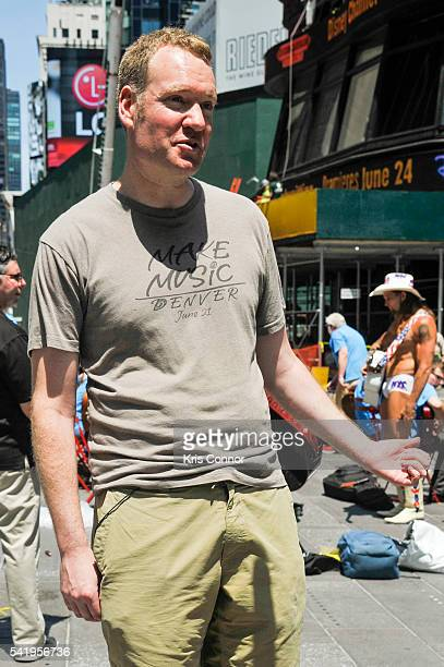 Aaron Freedman National Organizer of Make Music Day speaks with press during Make Music Day Guitar Lessons/Mass Appeal in Time Square on June 21 2016...