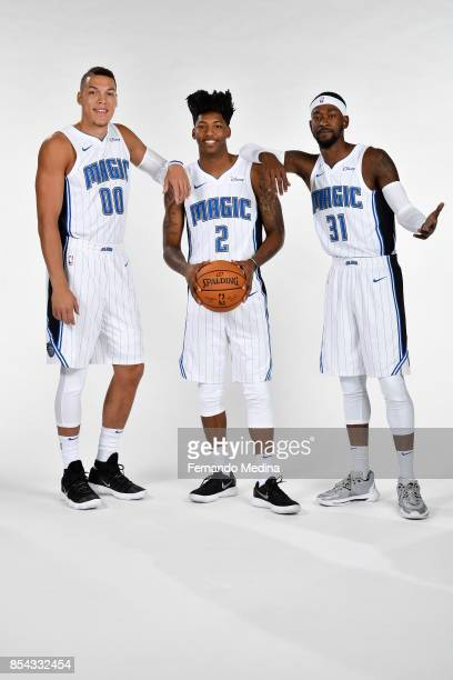 Aaron Gordon Elfrid Payton and Terrence Ross of the Orlando Magic pose for a portrait during NBA Media Day on September 25 2017 at Amway Center in...