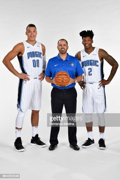 Aaron Gordon Frank Vogel and Elfrid Payton of the Orlando Magic pose for a portrait during NBA Media Day on September 25 2017 at Amway Center in...