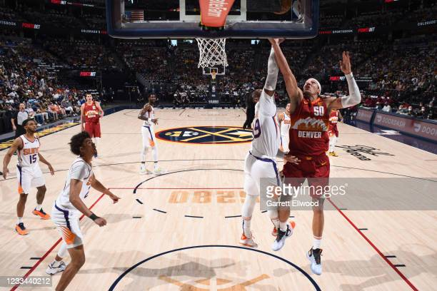 Aaron Gordon of the Denver Nuggets shoots the ball during the game against the Phoenix Suns during Round 2, Game 4 of the 2021 NBA Playoffs on June...