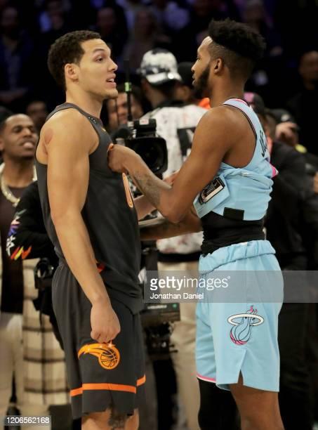Aaron Gordon of the Orlando Magic and Derrick Jones Jr #5 of the Miami Heat meet after the 2020 NBA AllStar ATT Slam Dunk Contest during State Farm...