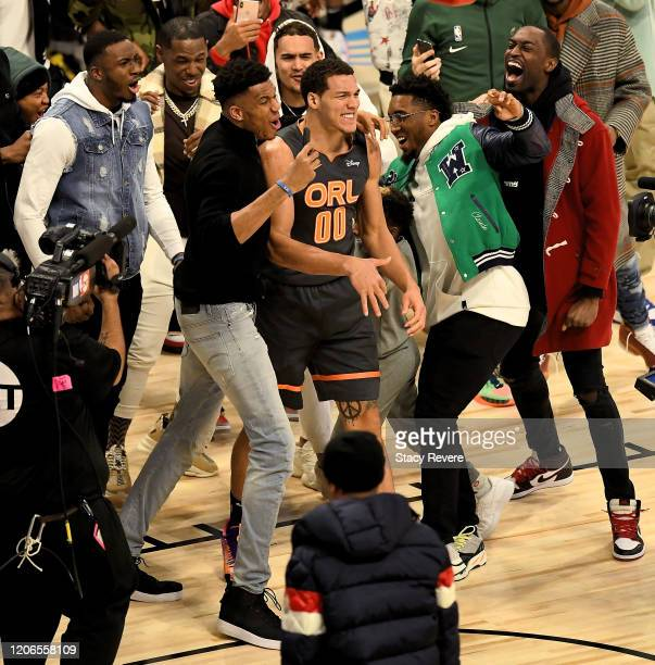 Aaron Gordon of the Orlando Magic celebrates after a dunk in the 2020 NBA AllStar ATT Slam Dunk Contest during State Farm AllStar Saturday Night at...