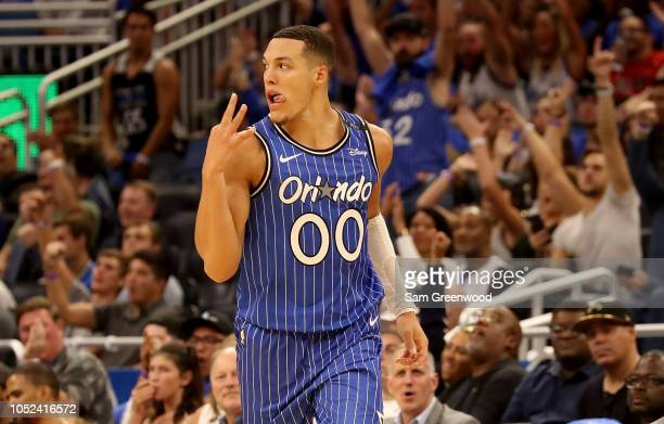 Aaron Gordon of the Orlando Magic celebrates during the game against the Miami Heat at Amway Center on October 17 2018 in Orlando Florida NOTE TO...